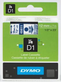Taśma Dymo D1, 12mm x 7m, nadruk niebieski, taśma-przezroczysta