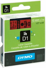 Taśma Dymo D1 12mm x 7m, nadruk czarny, taśma-czerwona