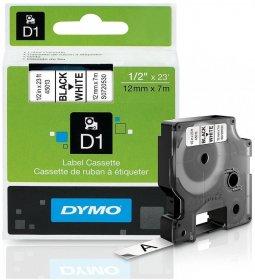 Taśma Dymo D1, 12mm x 7m, nadruk czarny, taśma-biała