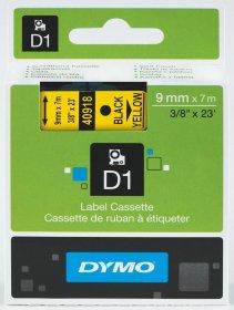 Taśma Dymo D1, 9mm x 7m, nadruk czarny, taśma-żółta