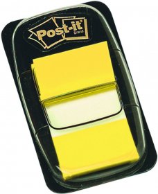 Zakładki samoprzylepne Post-it proste, indeksujące, folia, pótransparentne, 25x43mm, 1x50 sztuk, żółty