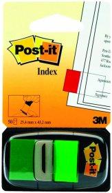Zakładki samoprzylepne Post-it proste, indeksujące, folia, półtransparentne, 25x43mm, 1x50 sztuk, zielony