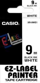 Taśma do drukarek etykiet Casio XR-9WE1, 9mm x 8m, biały/czarny nadruk