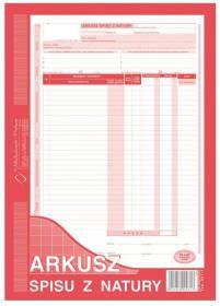 Druk akcydensowy Arkusz spisu z natury MiP, A4, 1 kopia, 48k