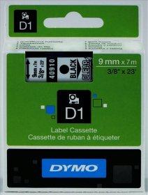 Taśma Dymo D1, 9mm x 7m, nadruk czarny, taśma przeźroczysta