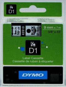 Taśma Dymo D1, 9mm x 7m, nadruk czarny, taśma transparentna