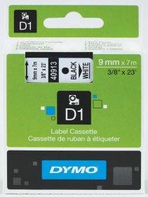Taśma Dymo D1, 9mm x 7m, nadruk czarny, taśma-biała