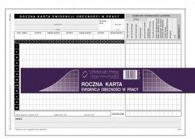 Druk akcydensowy Roczna karta ewidencji obecności w pracy MiP, A5, offsetowy, 50k