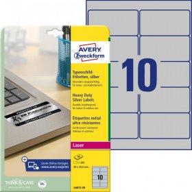 Etykiety znamionowe Avery Zweckform, 96x50.8 mm, 20 arkuszy, srebrny