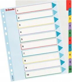 Przekładki kartonowe numeryczne z kolorowymi indeksami Esselte, laminowane, A4+, 1-10 kart, mix kolorów