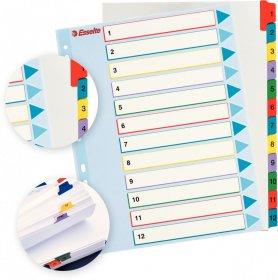 Przekładki kartonowe numeryczne z kolorowymi indeksami Esselte, laminowane, A4+, 1-12 kart, mix kolorów