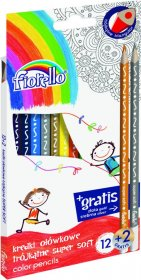 Kredki ołówkowe Fiorello, 12 kolorów + 2 gratis