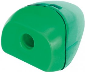 Temperówka z pojemnikiem Grand, plastik, 1 otwór, zielony
