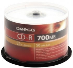 Płyta CD-R Omega, do jednokrotnego zapisu, 700 MB, cake box, 50 sztuk