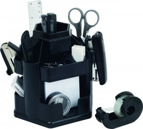 Przybornik na biurko Eagle 370, z wyposażeniem, 145x135x150mm, czarny