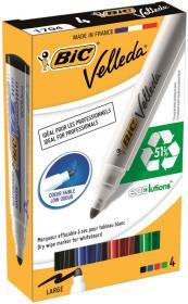 Marker suchościeralny Bic Velleda, okrągła, 4 sztuki, 1.4mm, mix kolorów