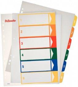 Przekładki plastikowe Esselte numeryczne, A4+, 1-6 Maxi z możliwością nadruku na karcie opisowej