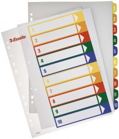 Przekładki plastikowe numeryczne z możliwością nadruku Esselte Maxi, A4, 1-10 kart, mix kolorów