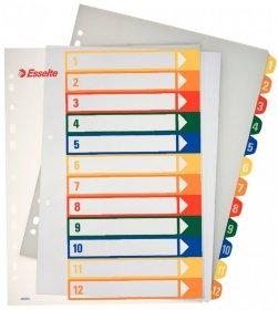 Przekładki plastikowe numeryczne z możliwością nadruku Esselte Maxi, A4, 1-12 kart , mix kolorów