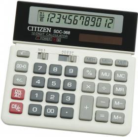 Kalkulator biurowy Citizen SDC 368, 12 cyfr, szary