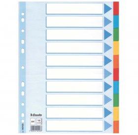 Przekładki kartonowe z kolorowymi indeksami Esselte, A4, 10 kart, mix kolorów
