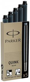 Naboje do pióra wiecznego Parker, długie, 5 sztuk, czarny