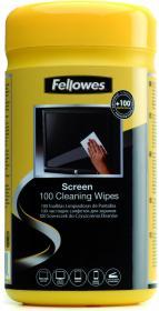 Chusteczki nawilżone do czyszczenia ekranu Fellowes, tuba, 100 sztuk