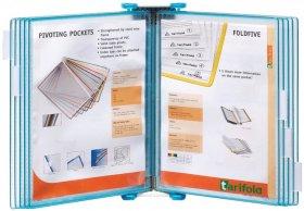 Naścienny system prezentacyjny Tarifold Candy Line, A4, 10 paneli prezentacyjnych, transparentny błękitny
