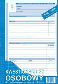 Druk akcydensowy - kwestionariusz osobowy dla osób ubiegających się o zatrudnienie A4 MP 504-A