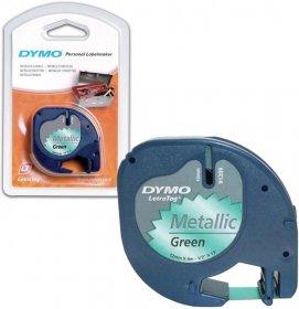 Taśma do drukarek etykiet Dymo, Letratag, 12mmx4m metalizowana zielona