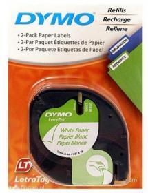 Taśma do drukarek etykiet Dymo, Letratag, 12mmx4m papierowa biała