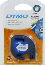 Taśma do drukarek etykiet Dymo, Letratag, 12mmx4m plastikowa biała