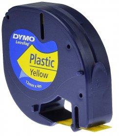 Taśma do drukarek etykiet Dymo, Letratag, 12mmx4m, plastikowa, żółty