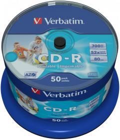 Płyta CD-R Verbatim, do nadruku, do jednokrotnego zapisu, 700 MB, cake box, 50 sztuk