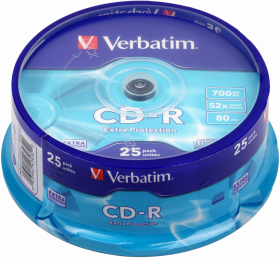 Płyta CD-R Verbatim, do jednokrotnego zapisu, 700 MB, cake box, 25 sztuk