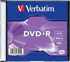 Płyta DVD+R Verbatim, do jednokrotnego zapisu, 4.7 GB, slim, 1 sztuka