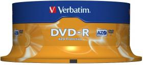 Płyta DVD-R Verbatim, do jednokrotnego zapisu, 4.7 GB cake box, 25 sztuk