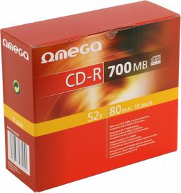 Płyta CD-R Omega, do jednokrotnego zapisu, 700 MB, slim, 10 sztuk