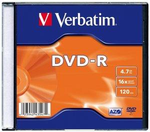 Płyta DVD-R Verbatim, do jednokrotnego zapisu, 4.7 GB, slim, 1 sztuka