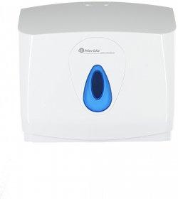 Dozownik do ręczników Merida Mini Top, w składce, kolor biały, okienko kolor niebieski