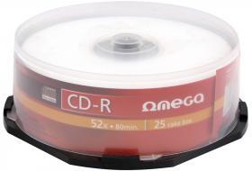 Płyta CD-R Omega, do jednokrotnego zapisu, 700 MB, cake box, 25 sztuk