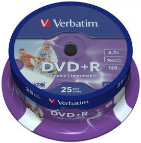 Płyta DVD+R Verbatim, do jednokrotnego zapisu, 4.7 GB, cake box, 25 sztuk