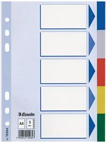Przekładki plastikowe gładkie z kolorowymi indeksami Esselte, A5, 5 kart, mix kolorów