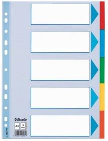 Przekładki kartonowe z kolorowymi indeksami Esselte, A4, 5 kart, mix kolorów