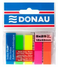 Zakładki samoprzylepne Donau, 12x45mm, 5x25 sztuk, mix kolorów neonowych