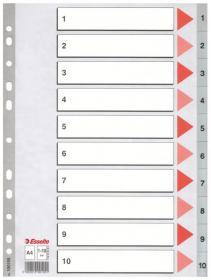 Przekładki plastikowe numeryczne Esselte, A4, 1-10 kart, szary