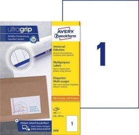 Etykiety uniwersalne Avery Zweckform, 210x297mm, 100 arkuszy, biały