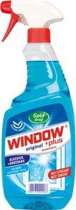 Płyn do mycia szyb Window Plus Gold Drop, z amoniakiem, z rozpylaczem, 750ml