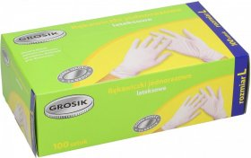 Rękawiczki lateksowe Grosik, cienkie, L, 100 sztuk, biały