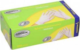 Rękawiczki lateksowe cienkie Grosik, rozmiar L, 100 sztuk, biały